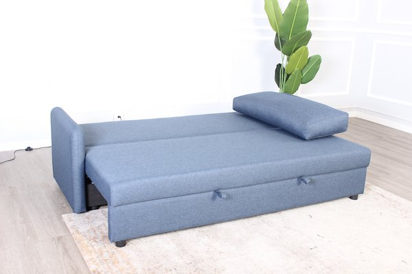 Sofa giường 3s STELLA vải polyester, xanh dương, chân gỗ tự nhiên