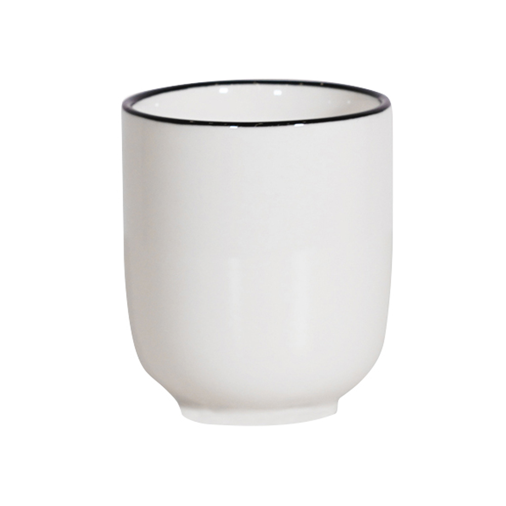 Cốc trà nID sứ trắng bóng viền đen Ø6.7x7.8cm