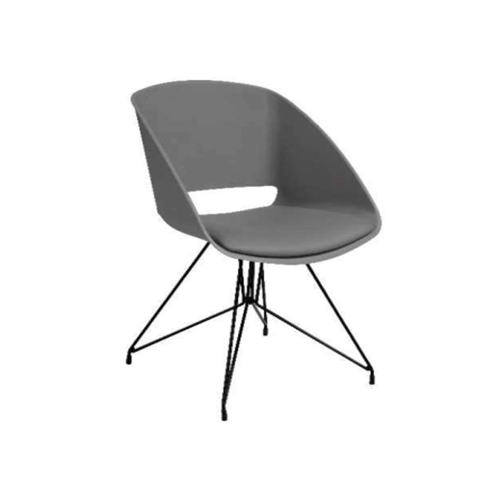 Ghế bành SIRIUS, đệm bọc da PU màu xám/ chân kim loại sơn đen; 82,3x51x56cm