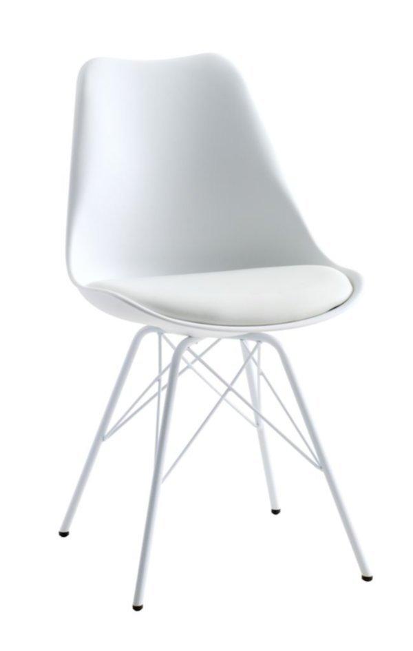 Mẫu ghế bàn ăn KLARUP đệm da PU trắng, chân kim loại tại JYSK