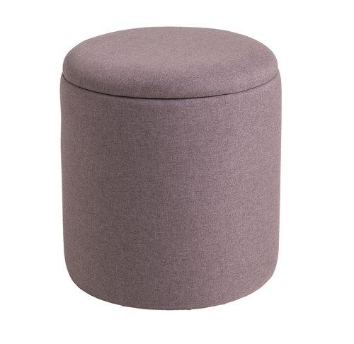 Ghế đôn GISLEV gỗ công nghiệp bọc vải polyester hồng, Ø36xC40cm