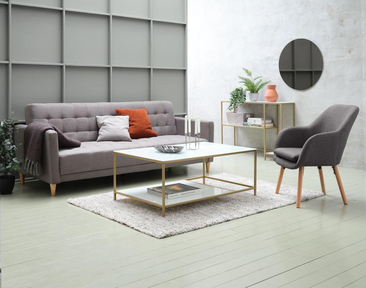Sofa giường SAGUNTO vải polyester, xám nhạt, chân gỗ tự nhiên