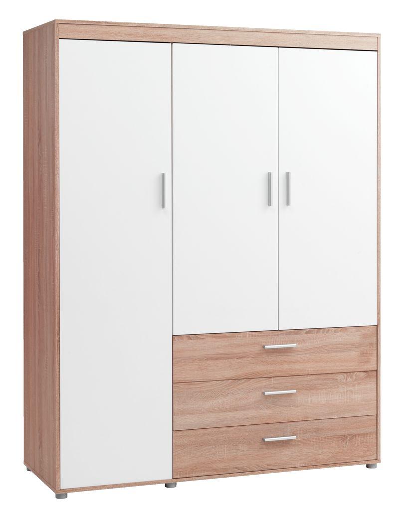 Tủ quần áo gỗ công nghiệp SLAGELSE màu trắng sồi