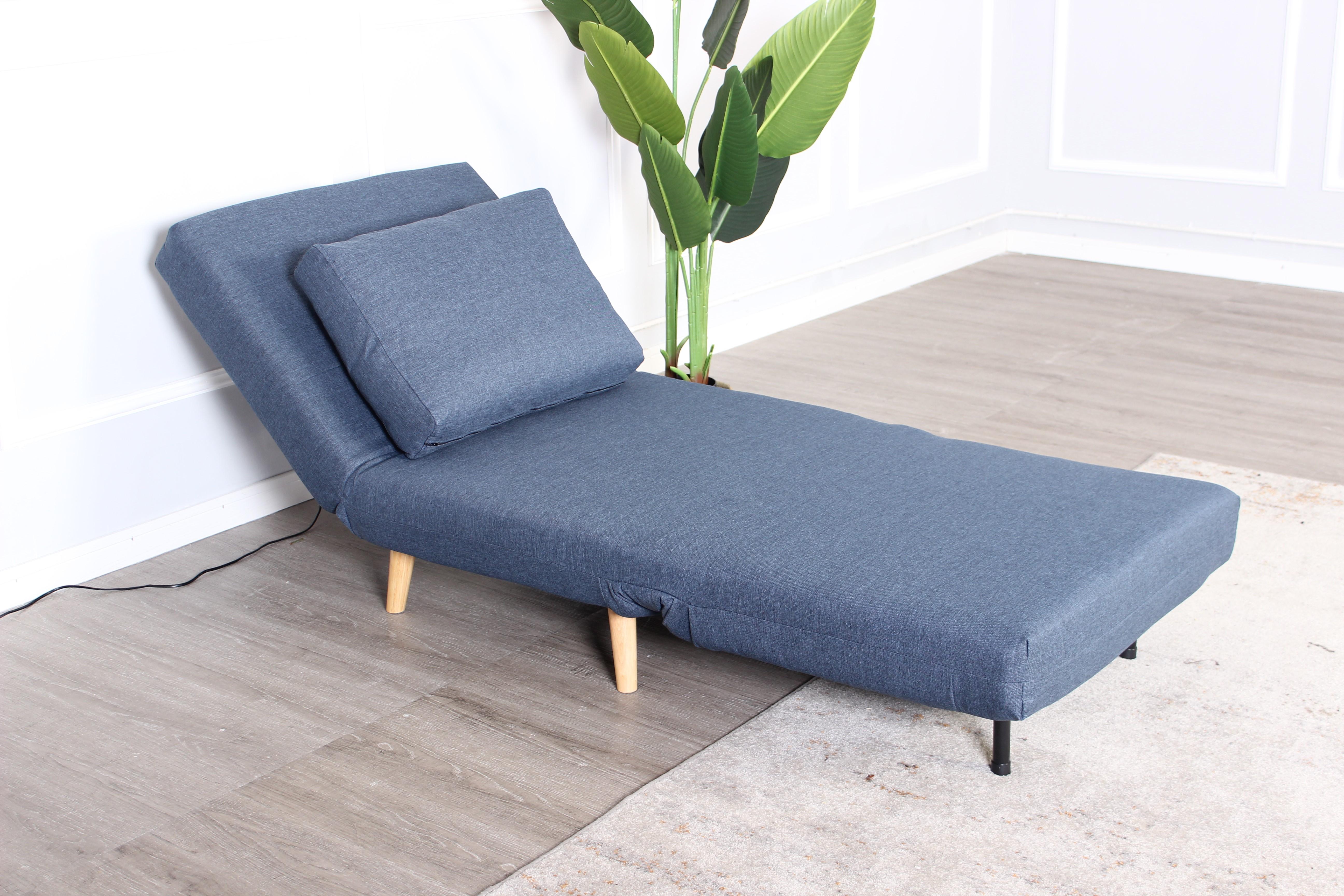 Ghế sofa giường 1S STELLA vải polyester, xanh dương/chân gỗ tự nhiên, R80xD90/190xC78x30cm