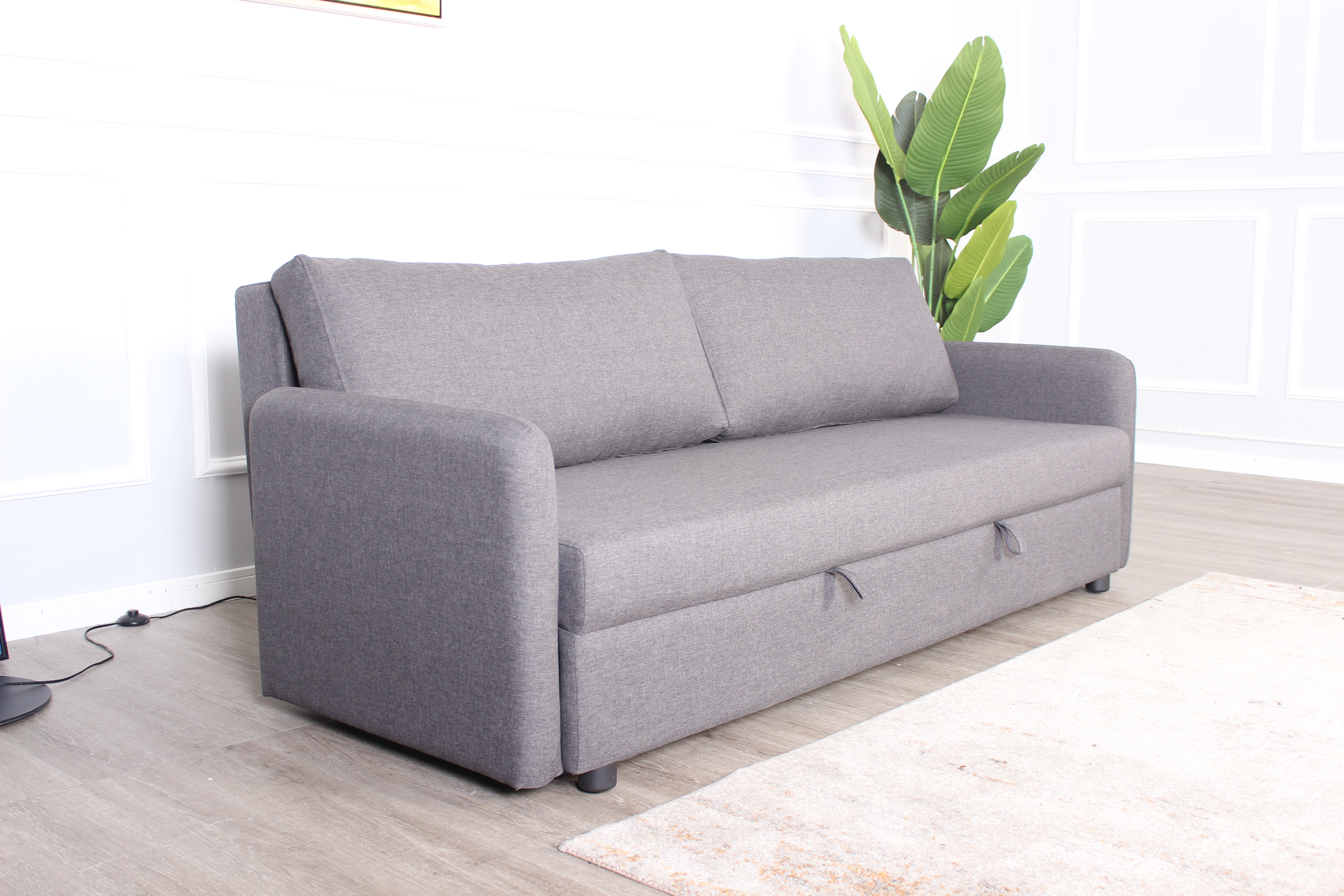 3S STELLA sofa bed, gray polyester fabric, natural wooden sofa legs