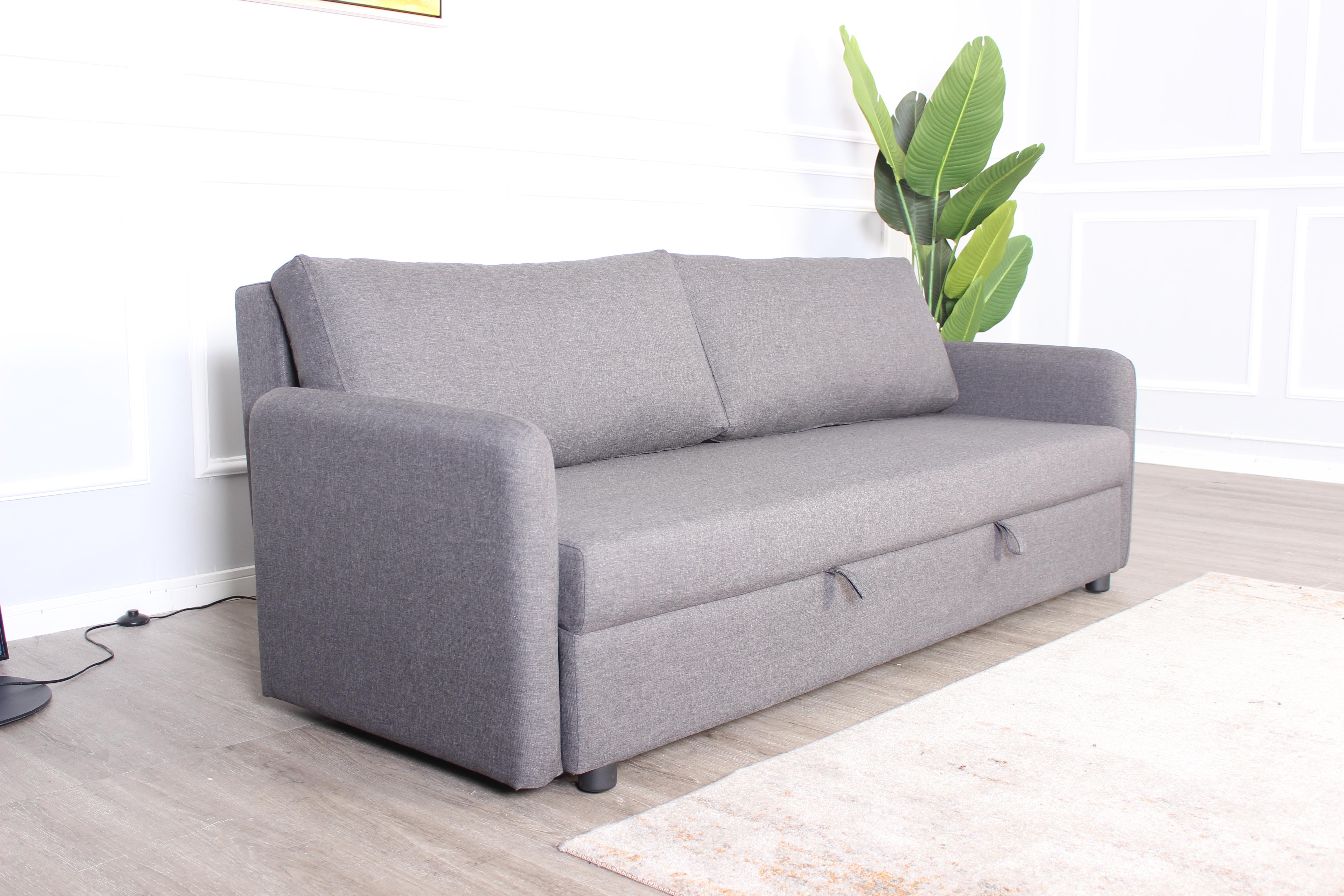 Sofa giường 3S STELLA, vải polyester màu xám, chân gỗ tự nhiên dạng ghế sofa