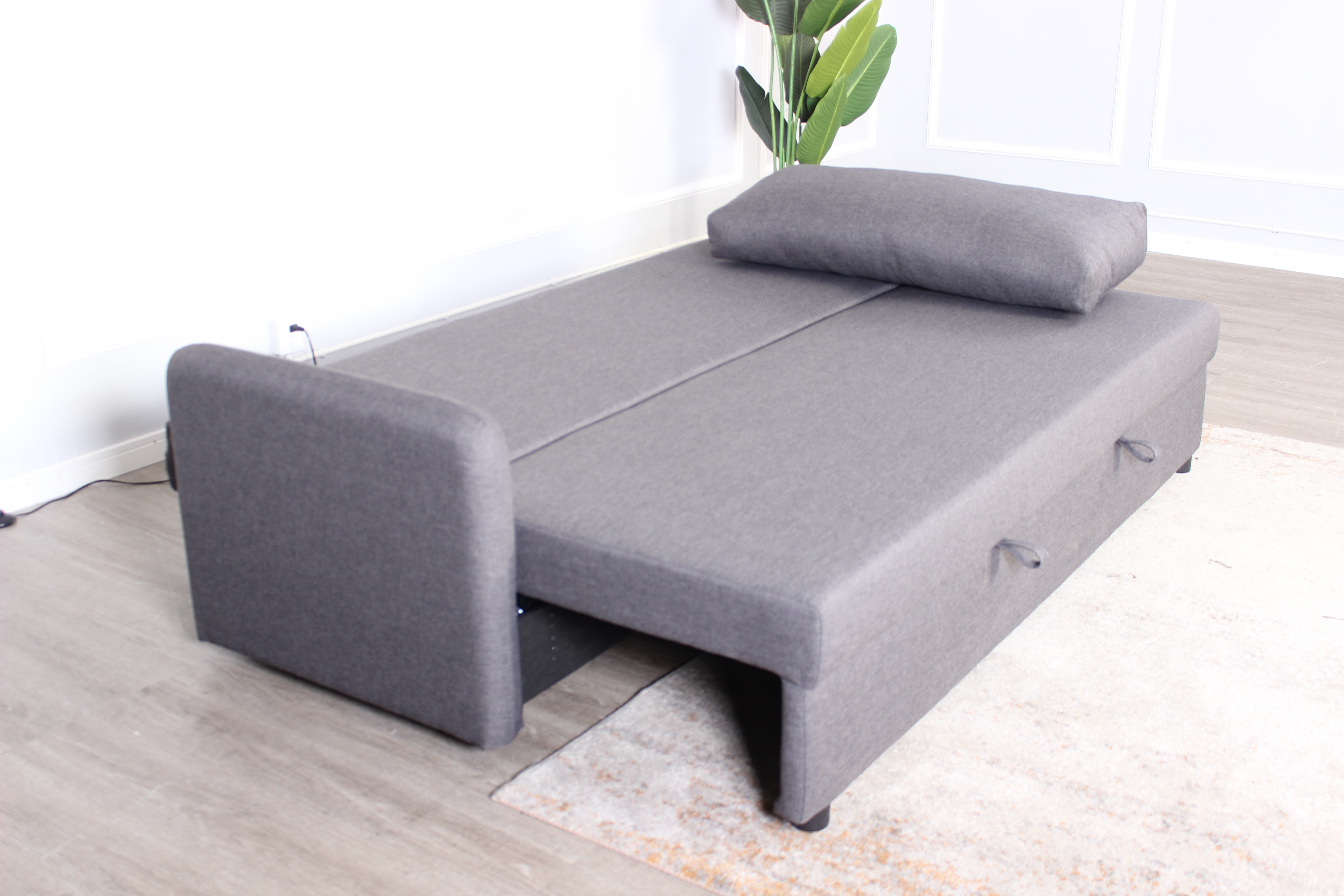 3S STELLA sofa bed, gray polyester fabric, natural wooden legs in bed form