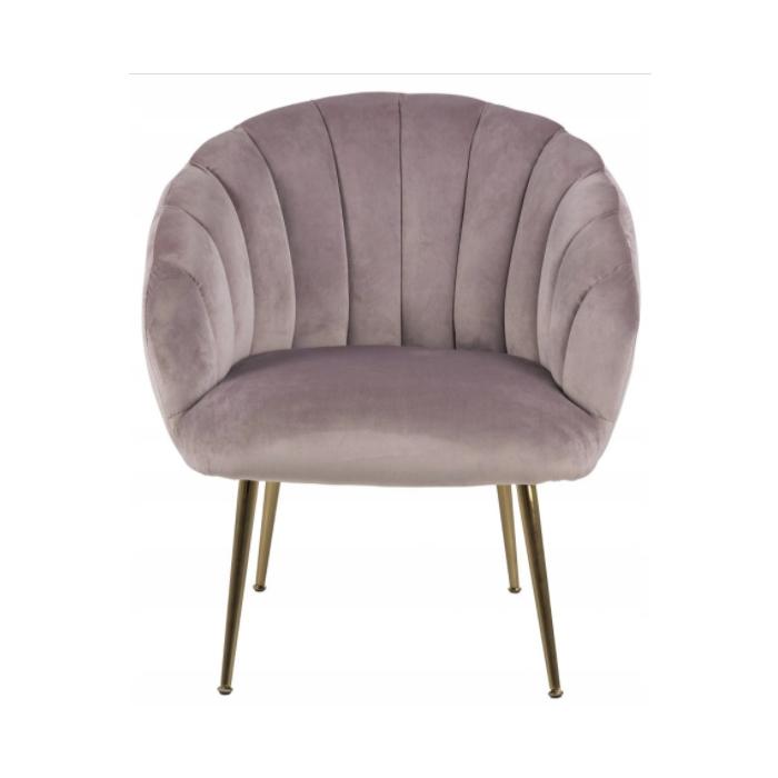 Ghế bành DANIELLA bọc polyester hồng nhạt, chân sắt mạ chrome màu đồng đơn giản nhưng tinh tế