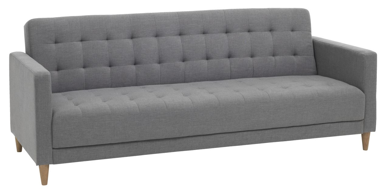Sofa giường SAGUNTO, vải polyester xám nhạt/ chân gỗ tự nhiên dạng ghế sofa