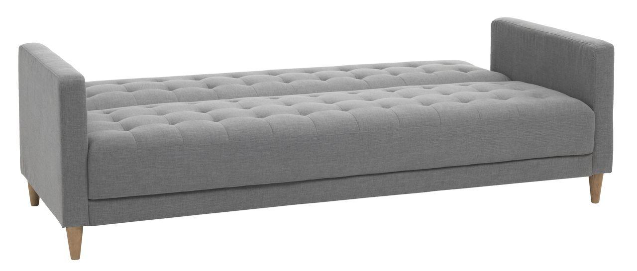 Sofa giường SAGUNTO, vải polyester xám nhạt/ chân gỗ tự nhiên dạng giường