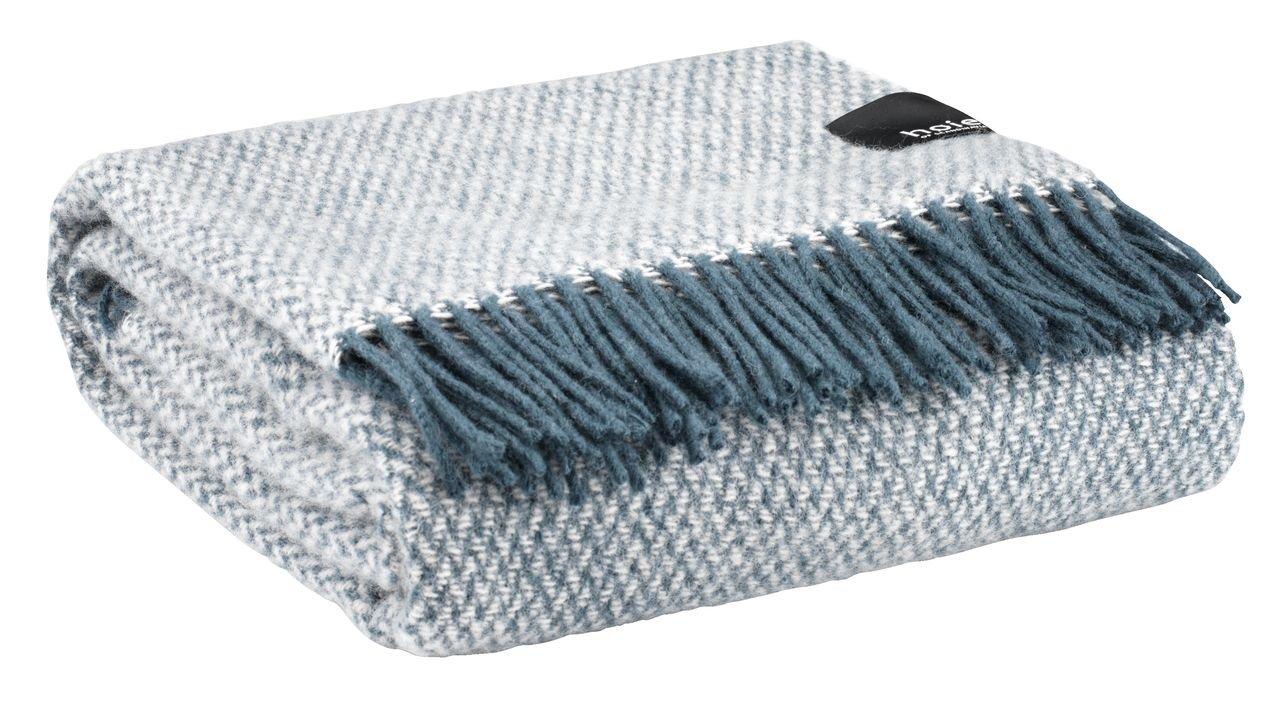 Chăn sofa HOIE len, xanh dương xám, 130x180cm