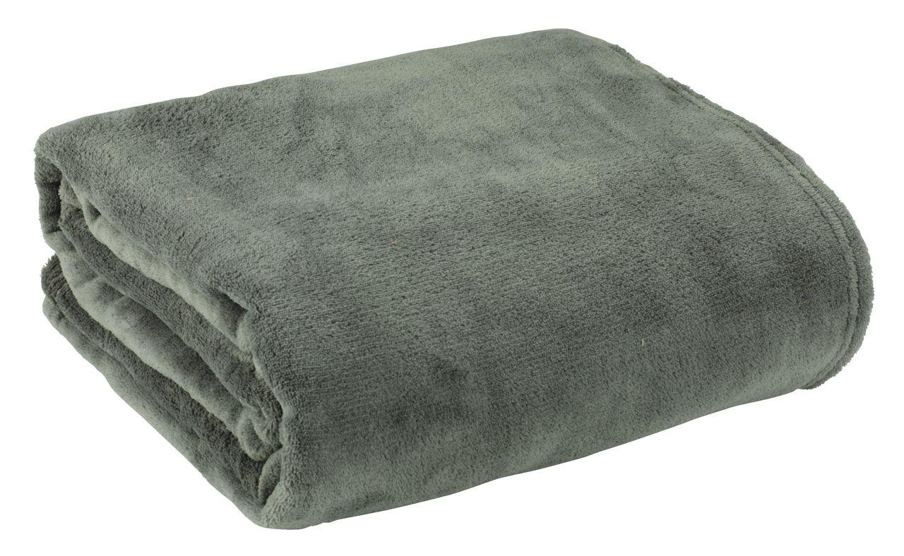 Chăn sofa BELLIS polyester microfiber, xanh rêu, 140x200cm