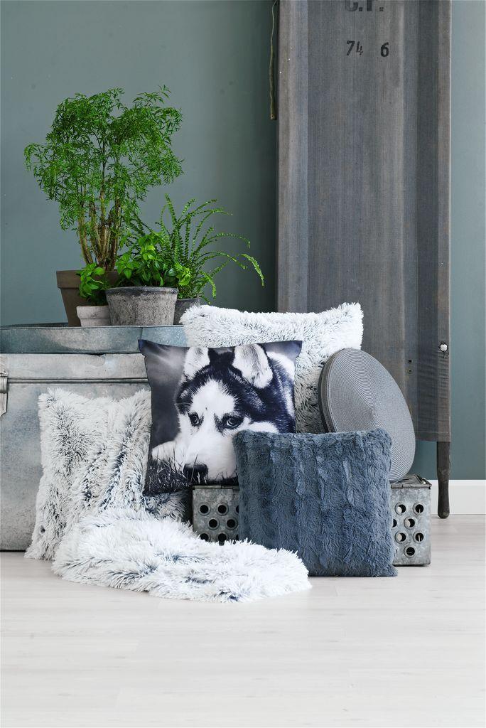 Chăn sofa LOTUS giả lông polyester xám; 135x195cm