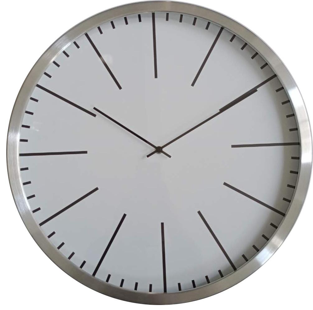 Đồng hồ treo tường kim trôi nID nhôm bạc Ø50cm