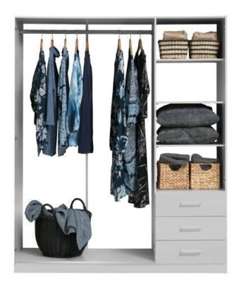 Modern bedroom interior with multi-function wardrobe